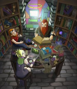 Three avatars working at a table in a library.